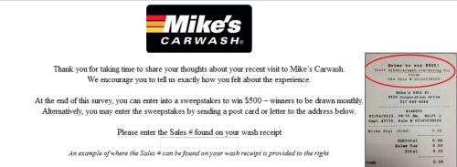 MikeS Carwash Customer Satisfaction Survey WwwMikescarwashCom