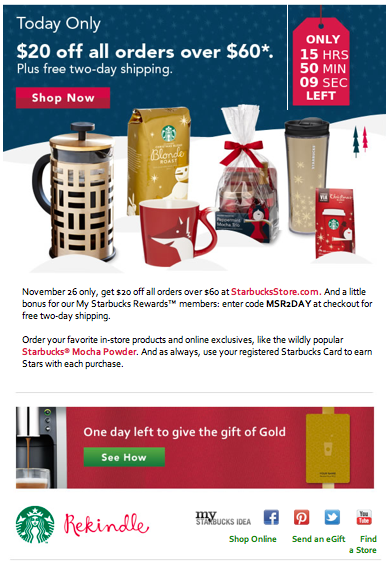 Starbucks Cyber Monday Email With Custom Price Tag Countdown Timer