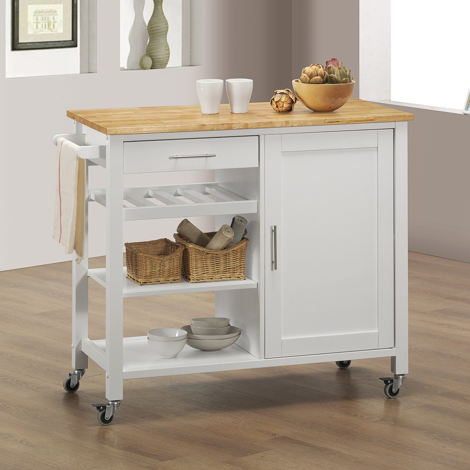 Sunset Trading Calgary Kitchen Cart White Natural Www Hayneedle Com Kitchen Cart Kitchen Island With Butcher Block Top Kitchen Dining Furniture