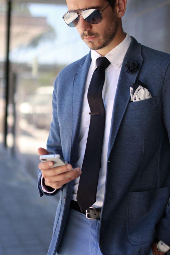 Gucci Aviator sunglasses, Blue Blazer, White shirt, Navy tie ...