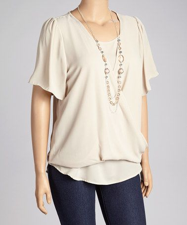 Take a look at this Taupe Drape Top & Necklace - Plus by Spin on #zulily today!