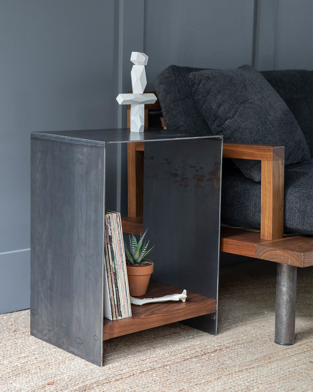Gauge Metal Side Table Modern Industrial Furniture Metal Side Table Raw Steel Furniture