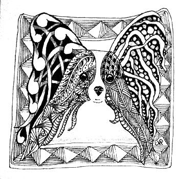 Zentangle ~ dog/butterfly