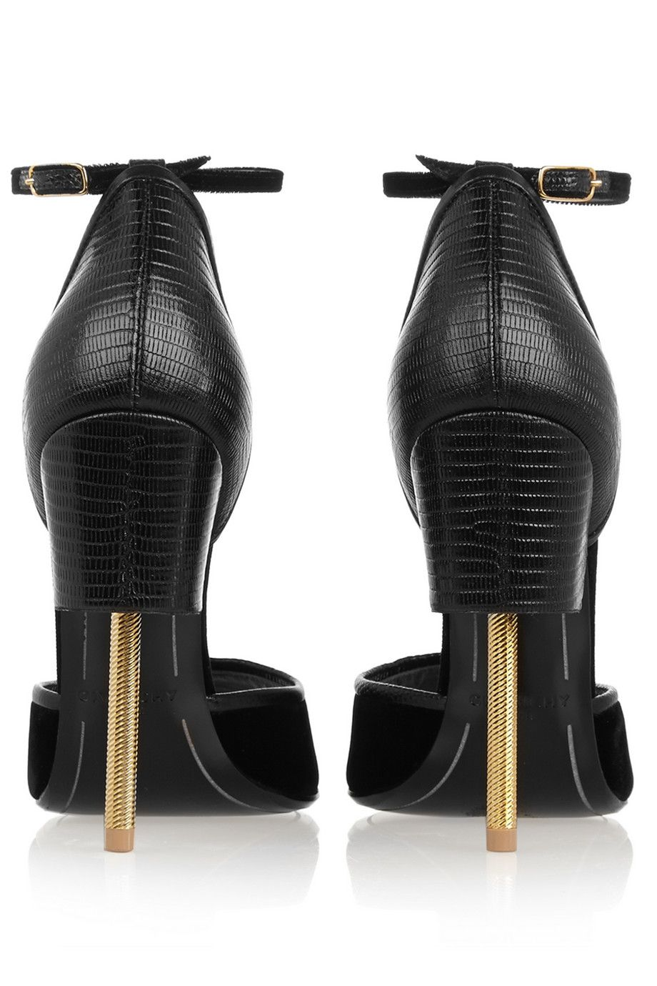 Givenchy | Matilda sandals in black lizard-effect leather and velvet | NET-A-PORTER.COM