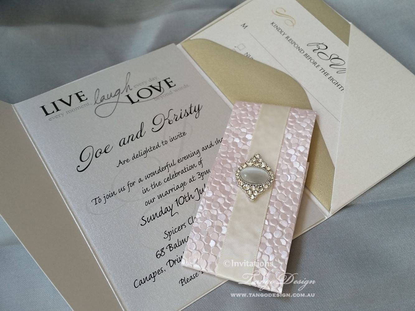 Pocket wedding invitation. Pocketfold invitation suite brooch ...