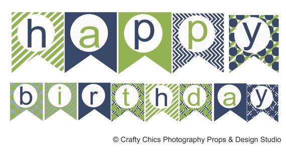 Diy Blue Green Hy Birthday Banner Printable