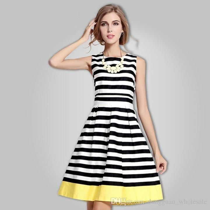 Womens Summer Dresses 2015 2016 Summer Fashion Vest Striped Dress ...