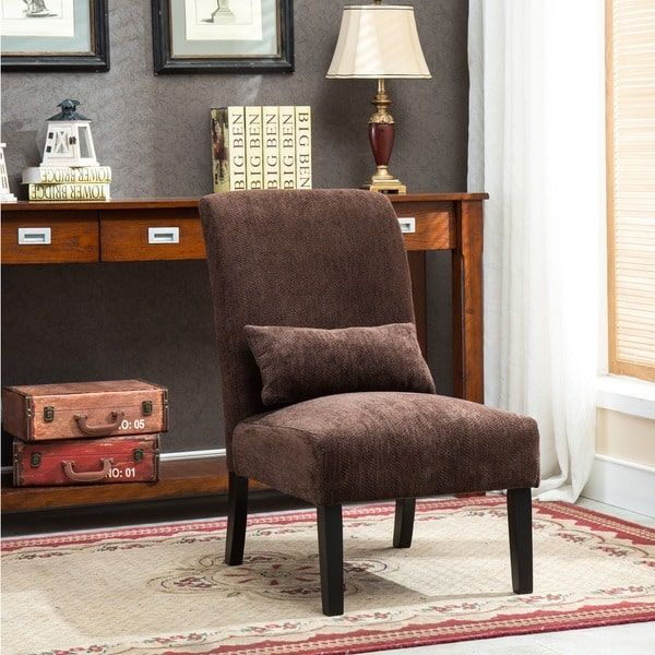 Pisano Chenille Fabric Armless Contemporary Accent Chair With Matching  Kidney Pillow · Mid Century Living RoomDecor ...
