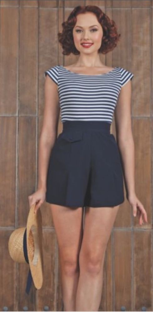 Stop Staring 1940's Nautical Navy High Waited Shorts ...