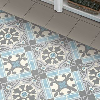 SomerTile 17.625x17.625-inch Tudor Blue Ceramic Floor and Wall Tile ...