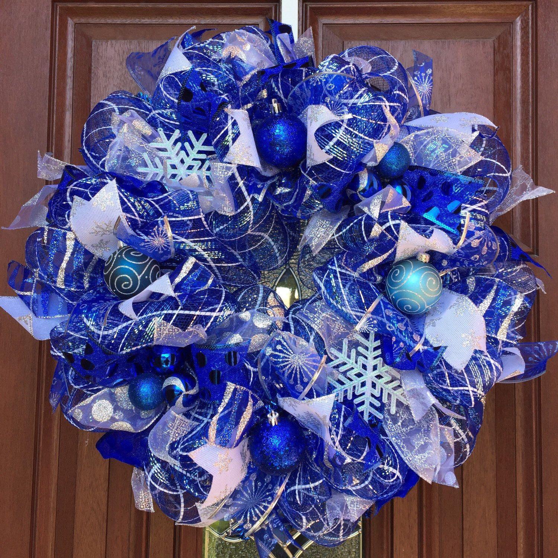 Deco Mesh Winter Wreath Christmas Wreath Blue Christmas Wreath Deco Mesh Christmas Wreaths Christmas Wreaths Winter Wreath