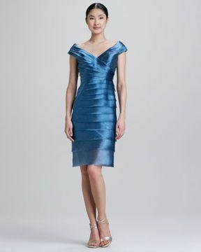 738896d4c7d Carmen Marc Valvo Tiered Satin Cocktail Dress