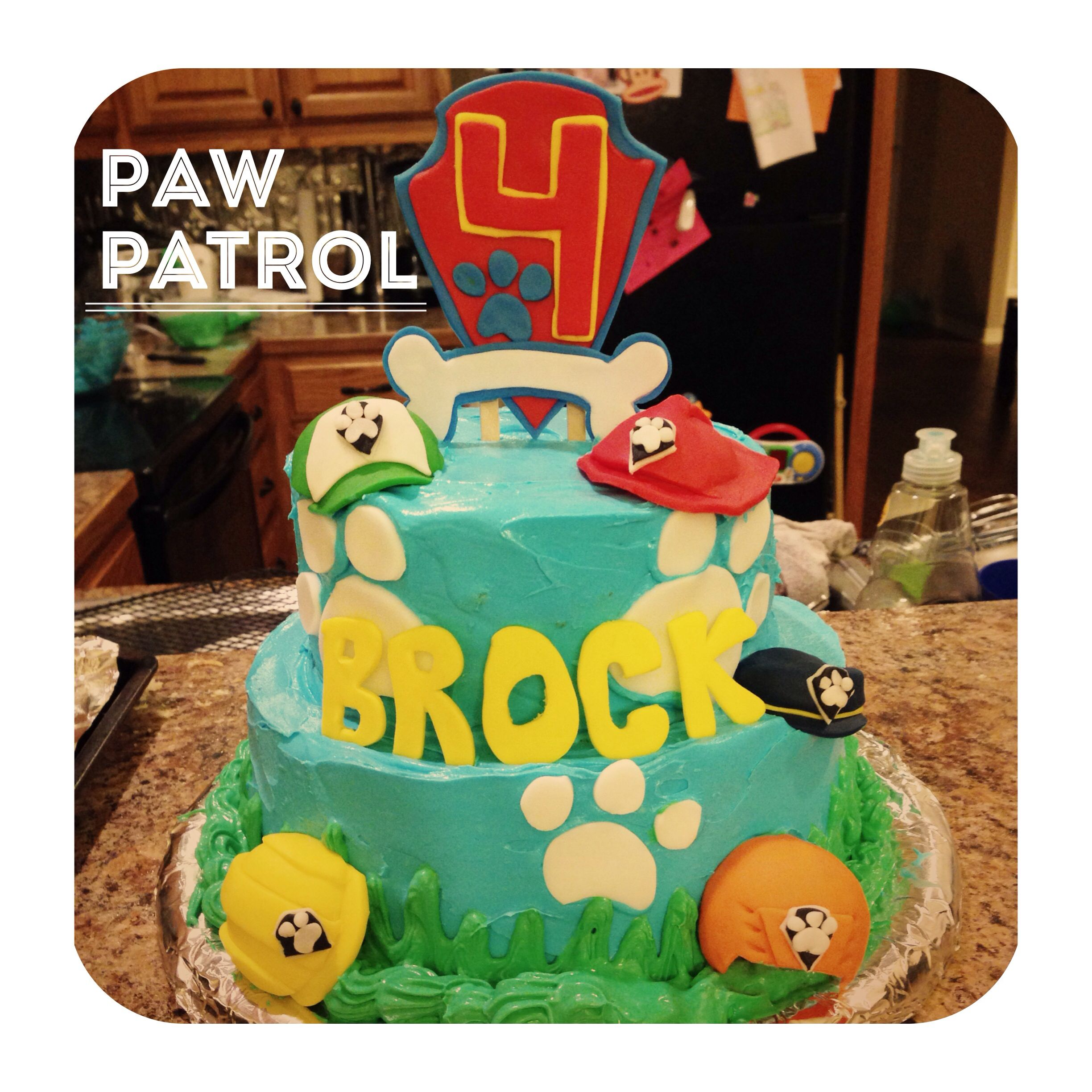 Paw Patrol cake that I made for my nephew Its covered in whipped
