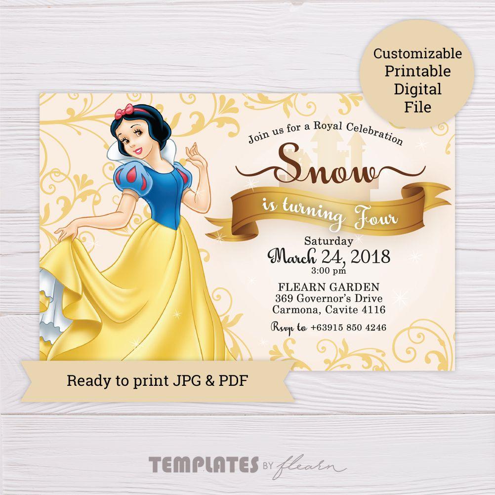 Snow White Invitation   Snow white invitations, Snow white ...