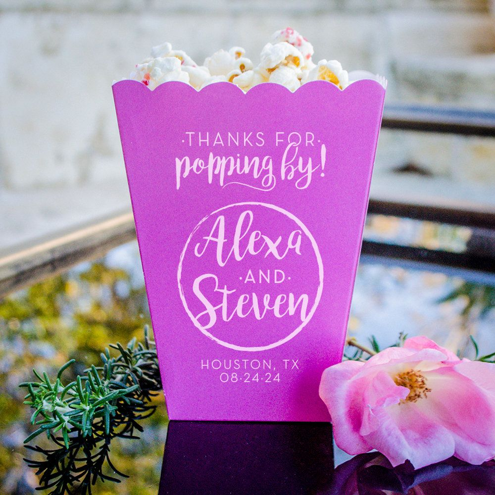 These personalized favor boxes are perfect for a popcorn bar ...