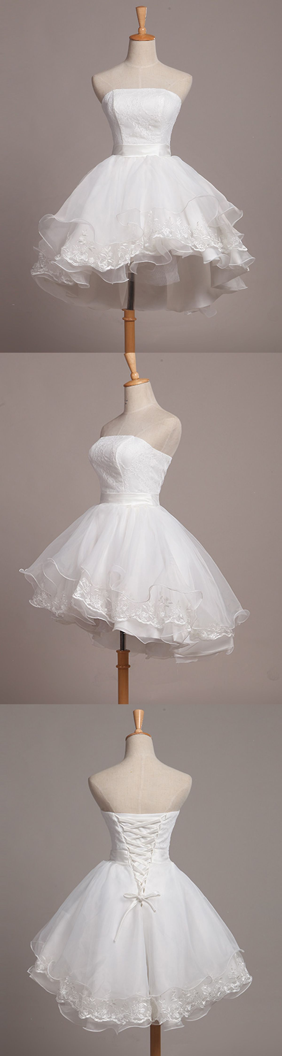 White tulle strapless mini bridesmaid dress short aline prom dress