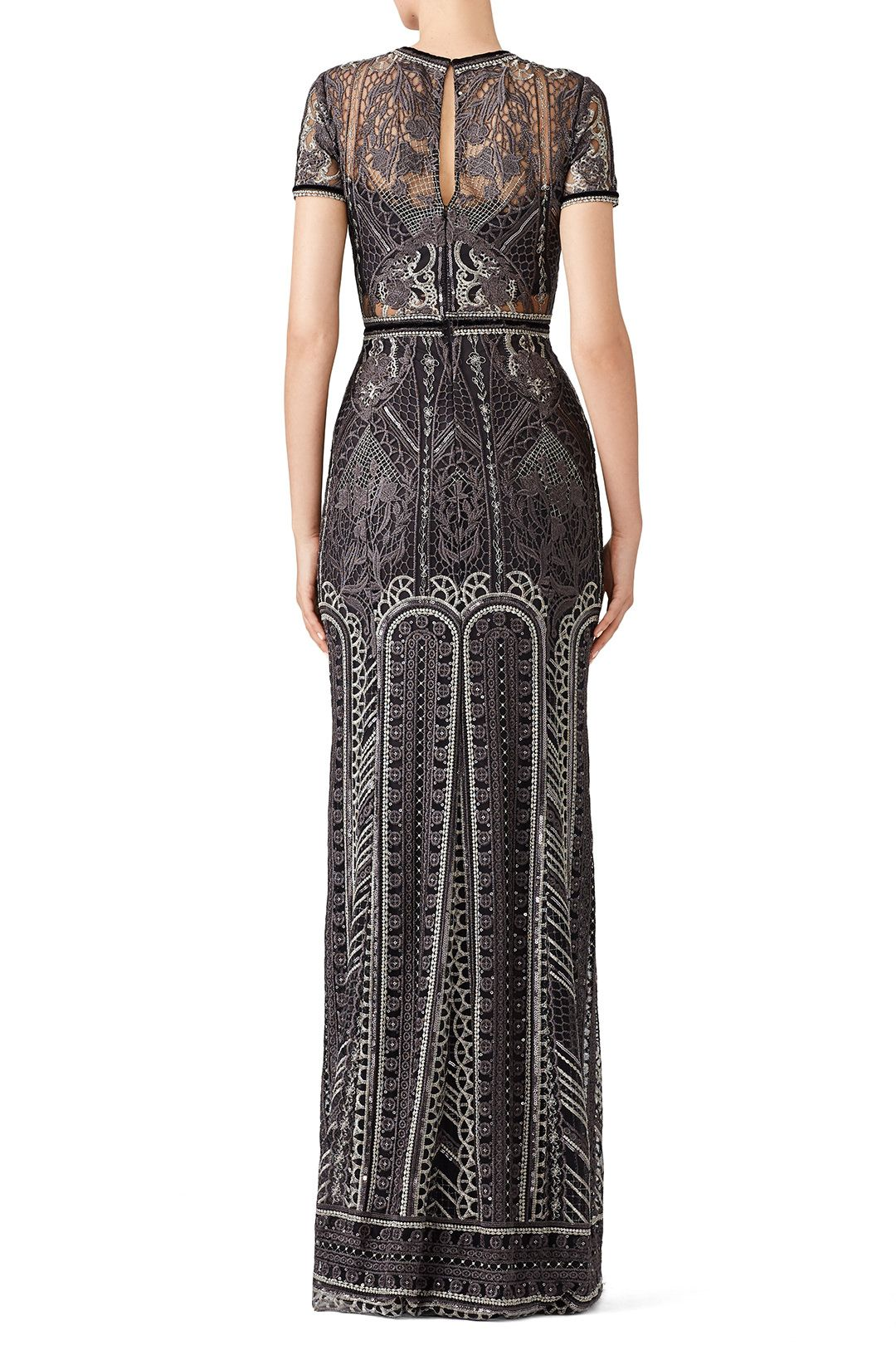 76289972 Silver Embroidered Gown by Marchesa Notte for $165   Rent the Runway ...