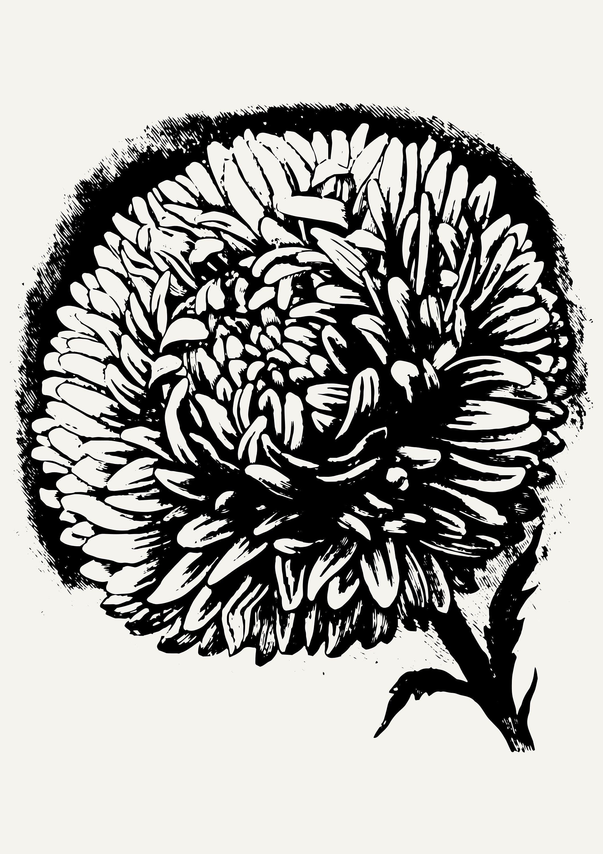 Handmade Flower Print Black And White Mid Century Prints 18x27 20x30 24x36 14x20 Movie Art Print Large Wall Art Handmade Flowers
