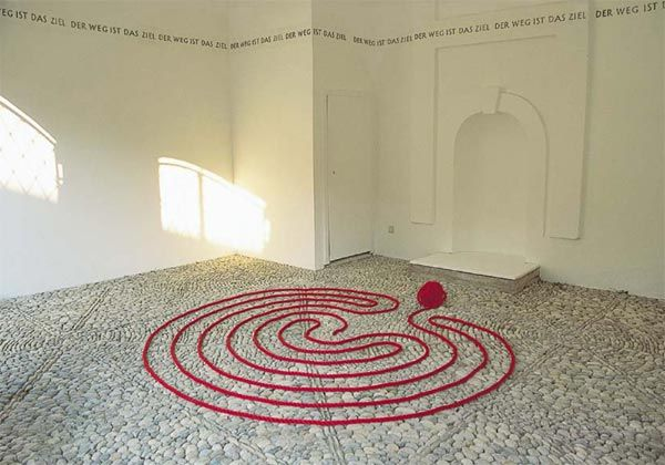 Labyrinth artist Marianne Ewaldt. A very striking installation called Ariadnes Thread. You cant avoid the symbolism of the blood red rope here.