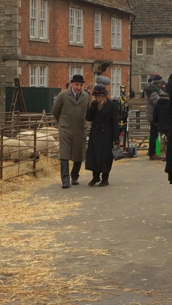 Mr Carson Mrs Hughes In A Market Scene For Downton Abbey Series