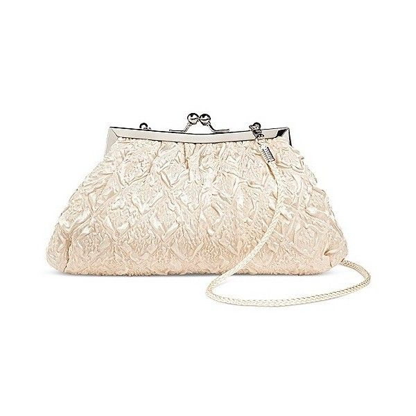 Tevolio Women's Framed Pucker Texture Clutch Handbag ($25) ❤ liked on Polyvore featuring bags, handbags, clutches, beige, plus size, clasp purse, chain handbags, print purse, man bag and beige clutches