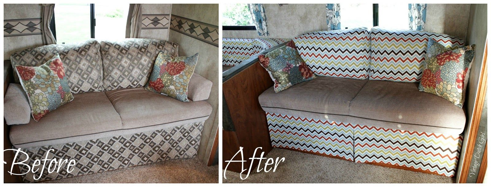 Chevron Slipcovered Couch