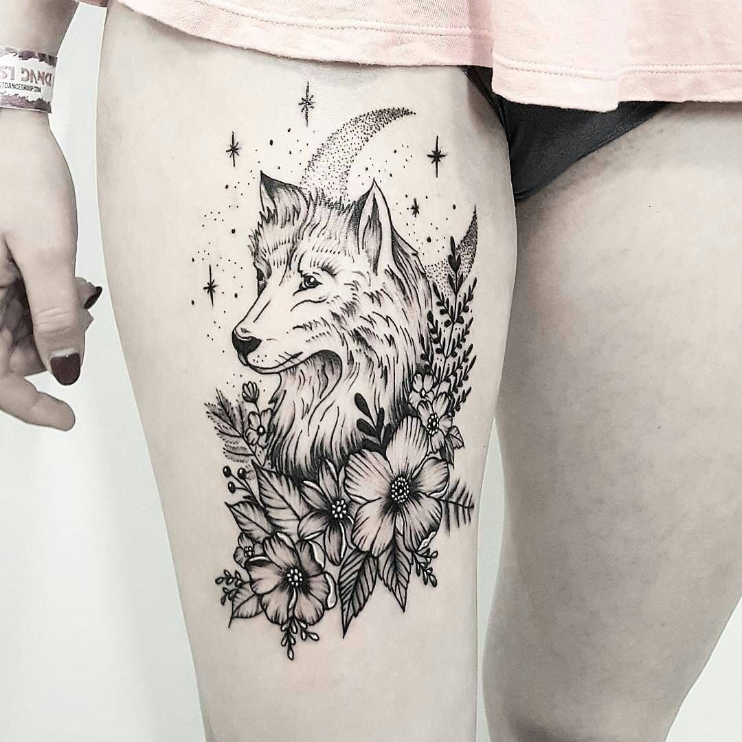 Lobo Flores Y Luna Tatuages Tattoos Wolf Tattoo Design Y Leg