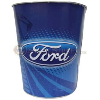 10 Inch Ford Logo Mustang Cobra Tin Waste Basket Trash Can Blue Ford Logo Mustang Cobra Ford