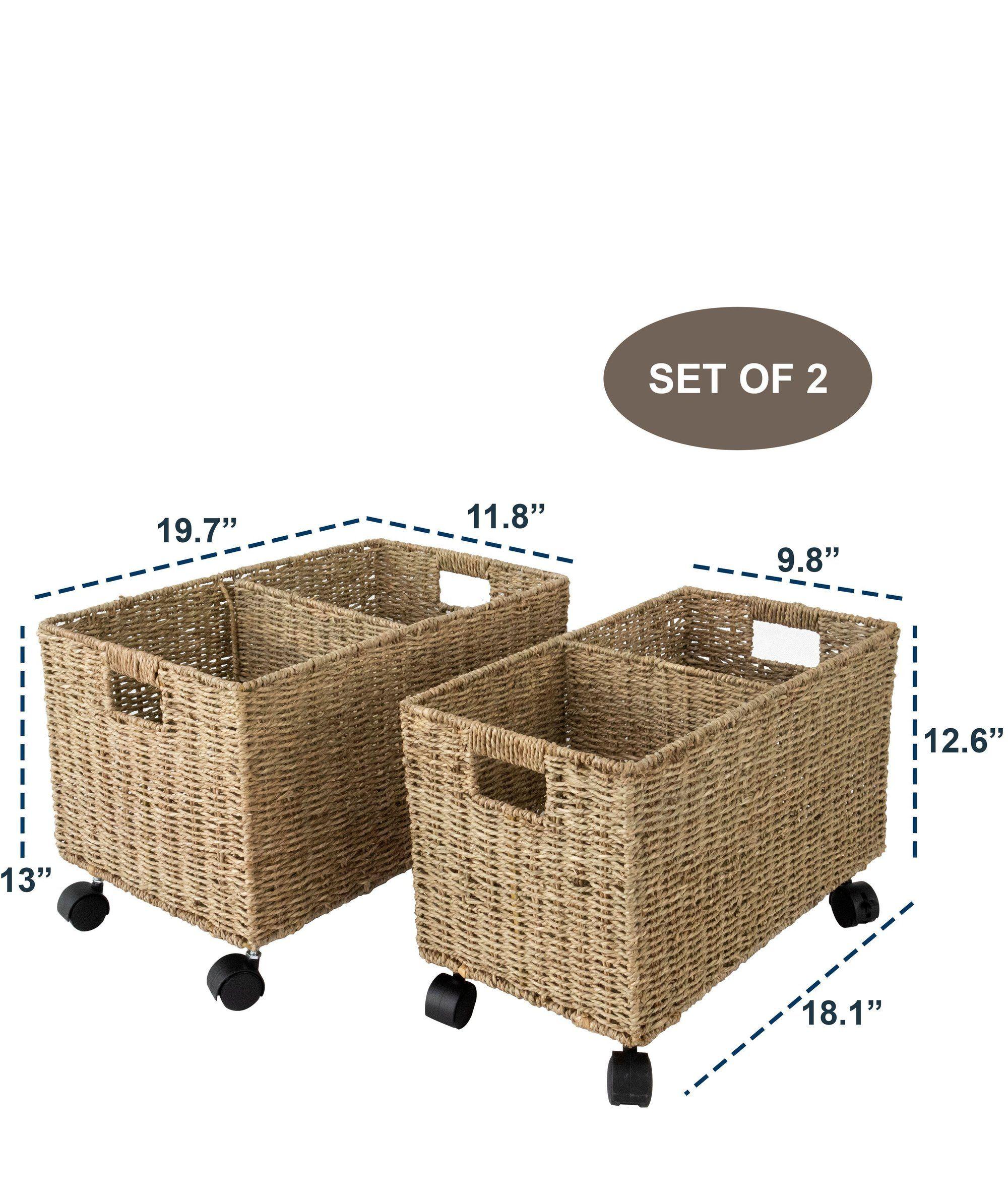 Woven Storage Baskets On Wheels Set 2 Under Counter Under Desk Storage Toy Organizer In 2020 Woven Baskets Storage Storage Baskets Under Bed Storage