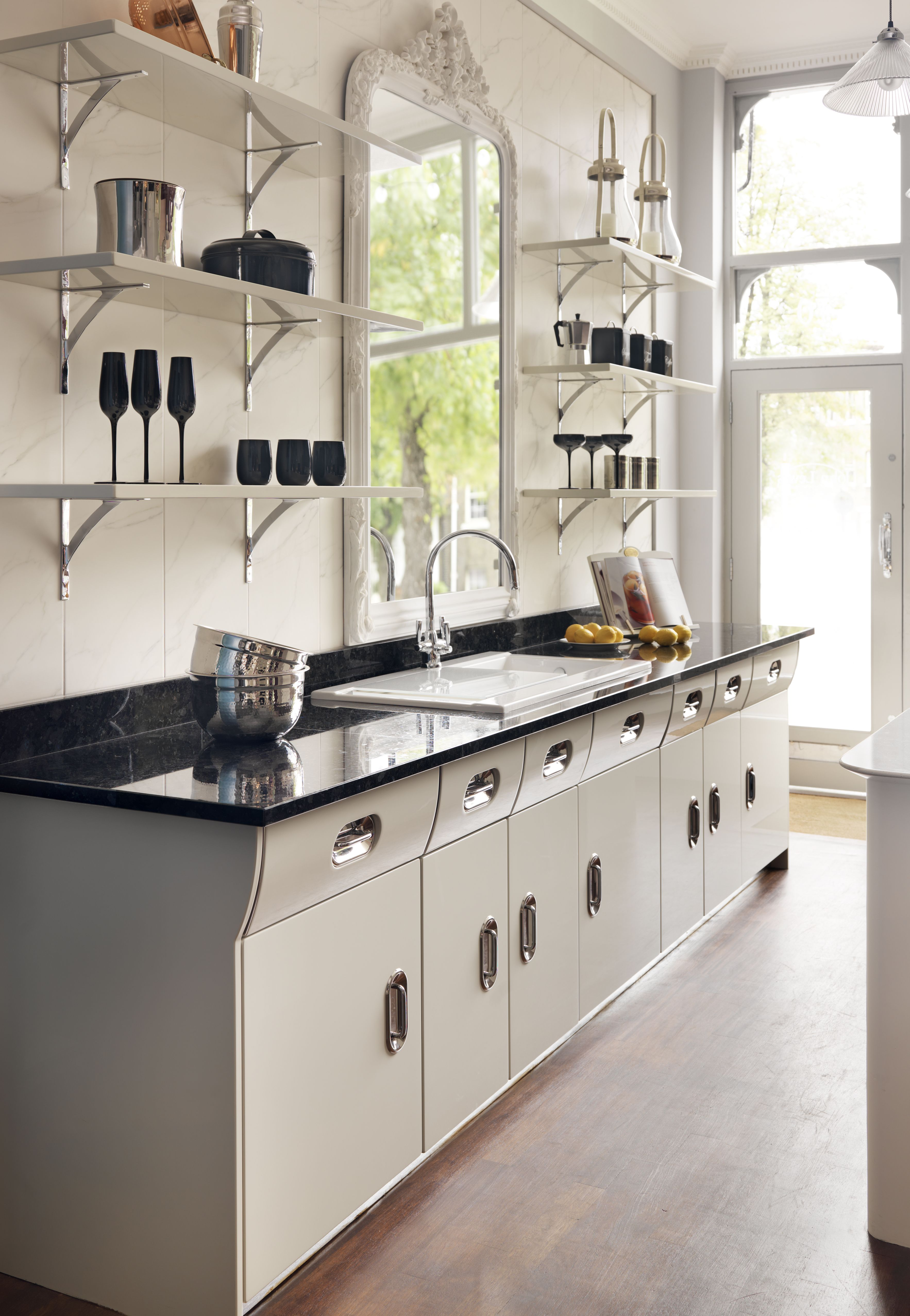 Deli Style Shelves Complement The Look Creme De La Creme Vintage Kitchen From John Lewis Of Hungerfor Retro Kitchen Modern Kitchen Set Kitchen Cabinet Styles