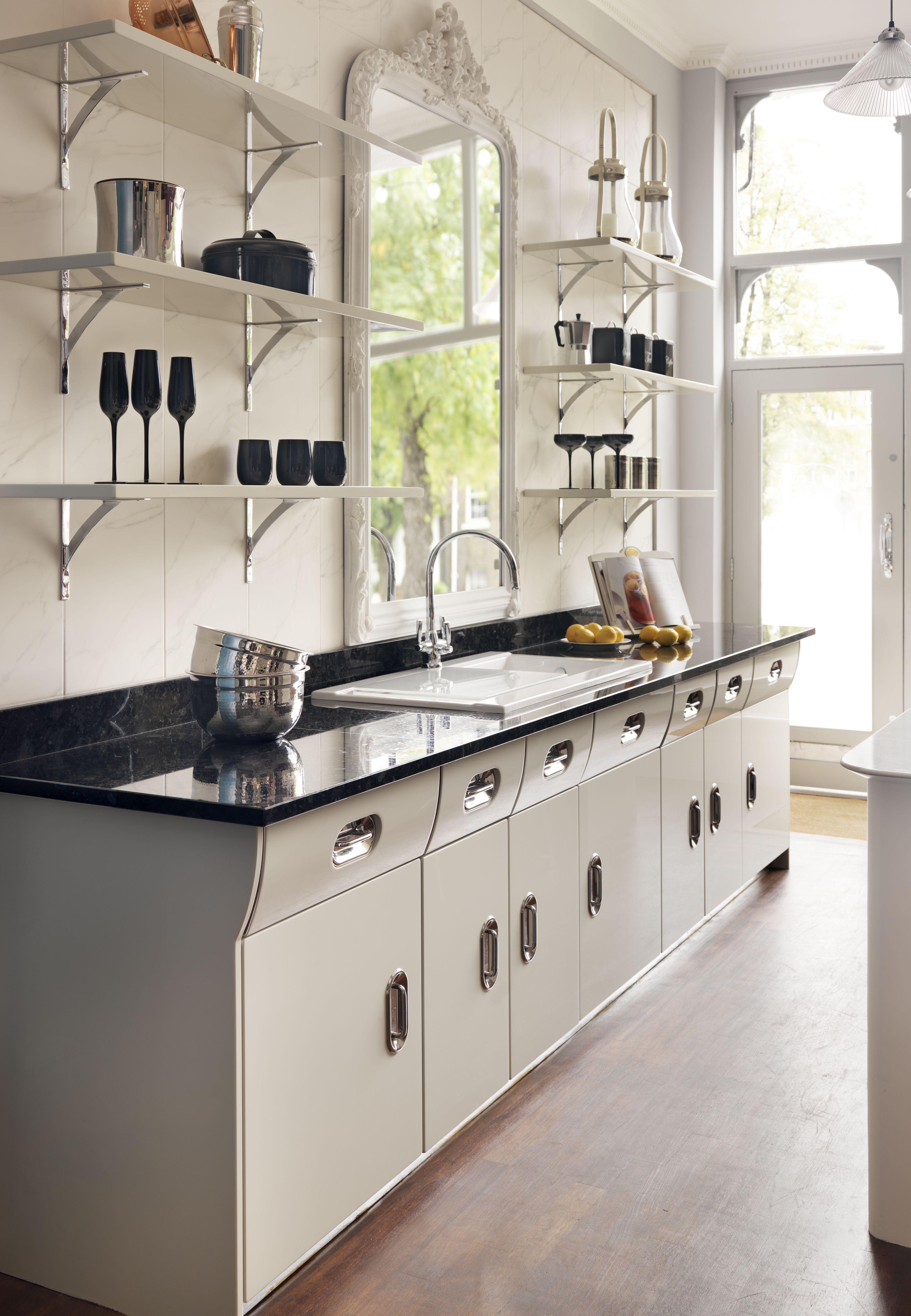 Deli Style Shelves Complement The Look Creme De La Creme Vintage Kitchen From John Lewis Of Hungerfor Retro Kitchen Modern Kitchen Set Kitchen Cabinet Styles