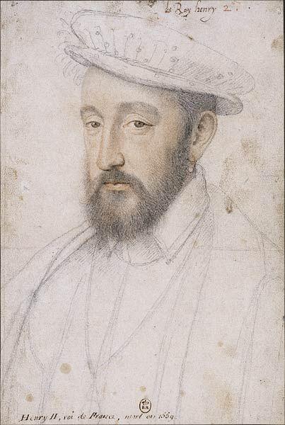"""François Clouet, Henri II, 1553- A la différence de son père François I°, Henri II est d'une nature taciturne. Selon le vénitien Dandolo, il rit rarement """"au point que nombre de ceux qui sont à la cour assurent ne l'avoir jamais vu rire une seule fois""""."""
