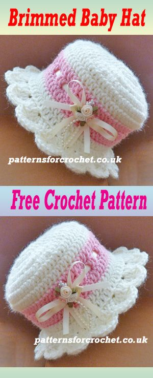 Free Baby Crochet Pattern For Brimmed Hat Crochet Preemie Hats