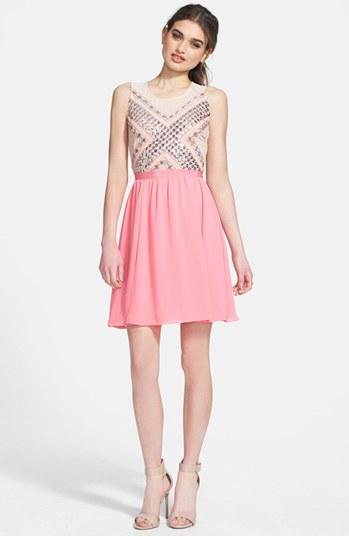 #En Creme                 #Dresses                  #Creme #Embellished #Chiffon #Skater #Dress #(Juniors) #Nude/ #Pink #Medium   En Creme Embellished Chiffon Skater Dress (Juniors) Nude/ Pink Medium                                   http://www.snaproduct.com/product.aspx?PID=5278427