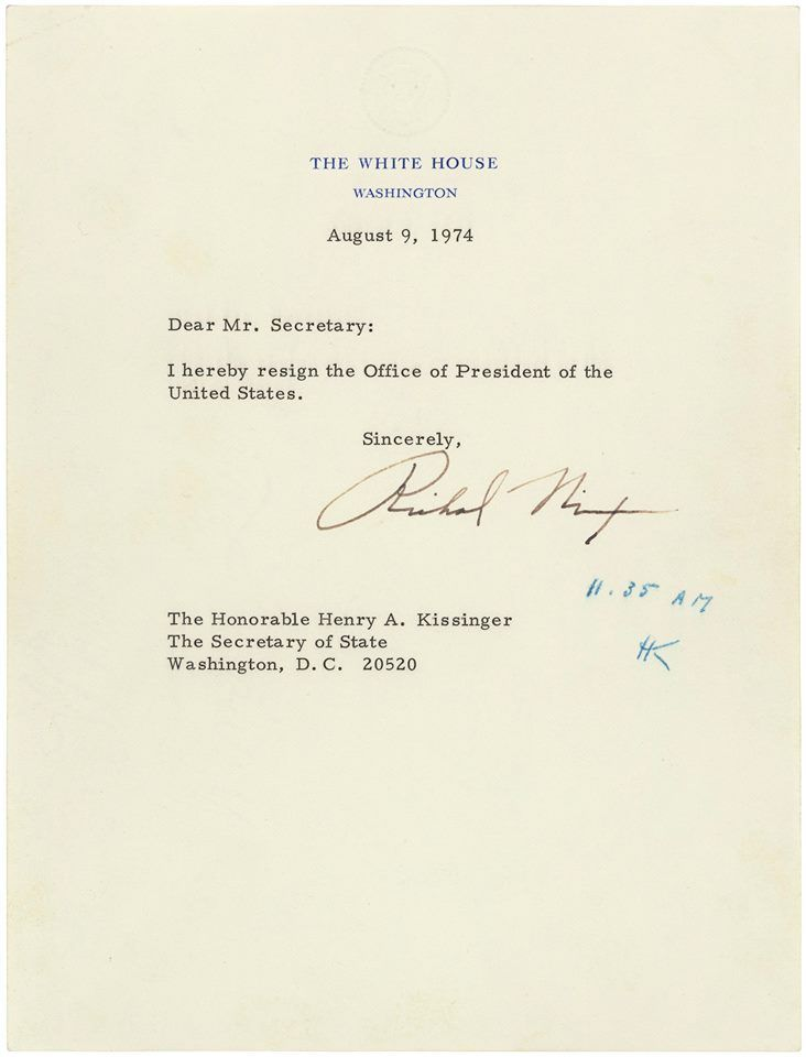 Richard M Nixon\u0027s Resignation Letter, 08/09/1974 (National - nixon resignation letter