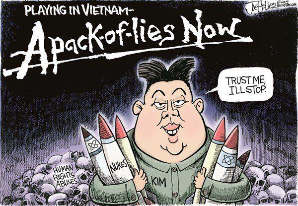 Appalled by cartoon comparing Kim Jong-un and Trump |Current Political Cartoons North Korea