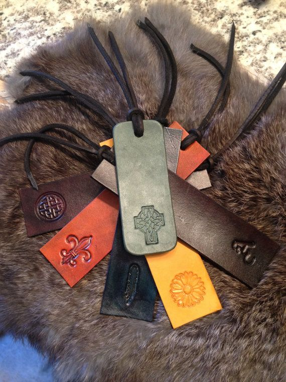 Charming Hand Stamped Leather Bookmark by LykosLeather on Etsy