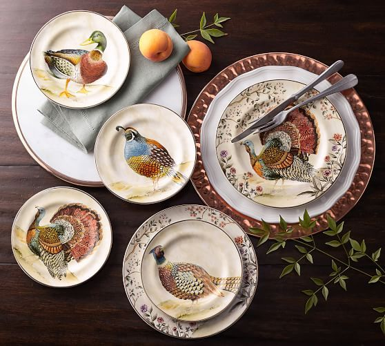 Pottery Barn Watercolor Turkey Salad Plates SET//4 ~ NEW