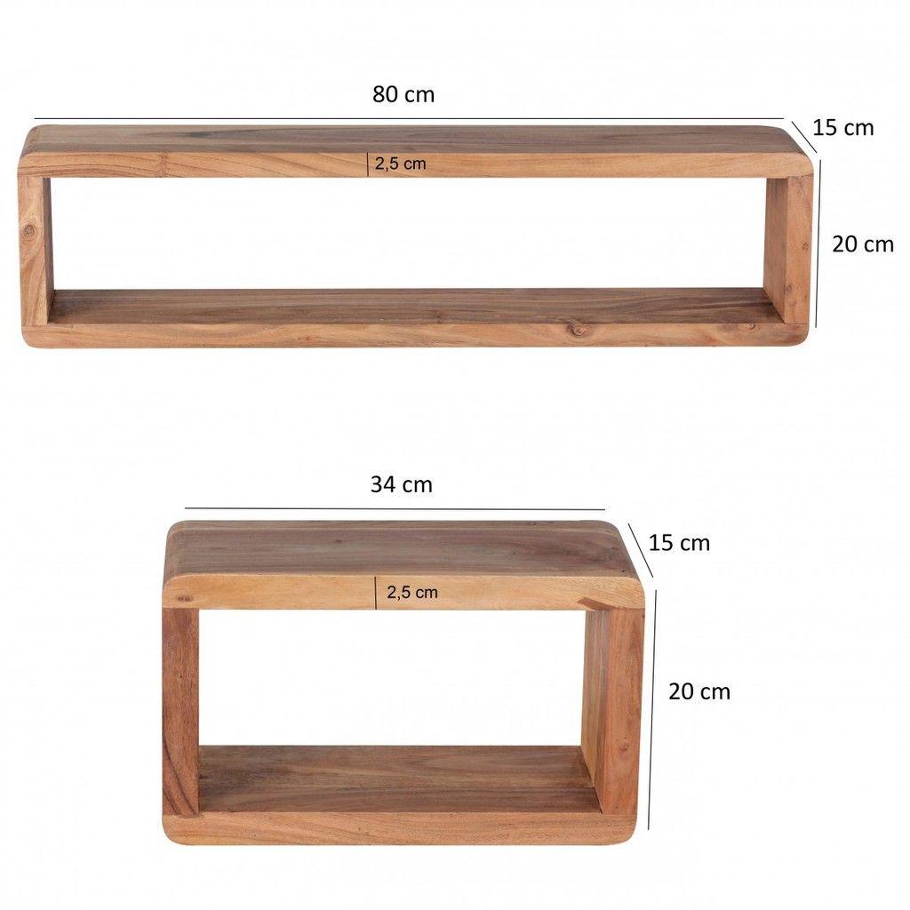 finebuy 3er set wandregale massivholz akazie holzregal. Black Bedroom Furniture Sets. Home Design Ideas