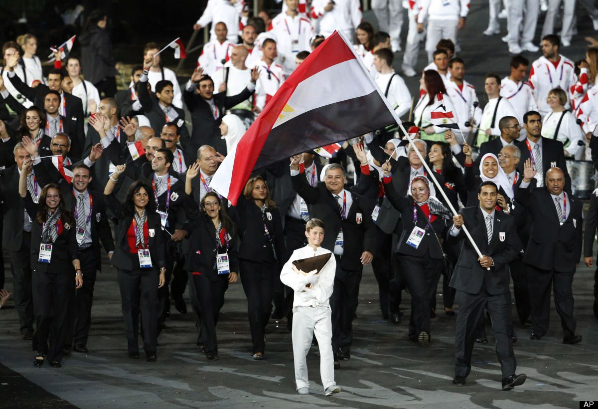 Egypt S Hesham Mesbah Carries The Flag Opening Ceremony 2012 Summer Olympics Long Sleeves Jacket
