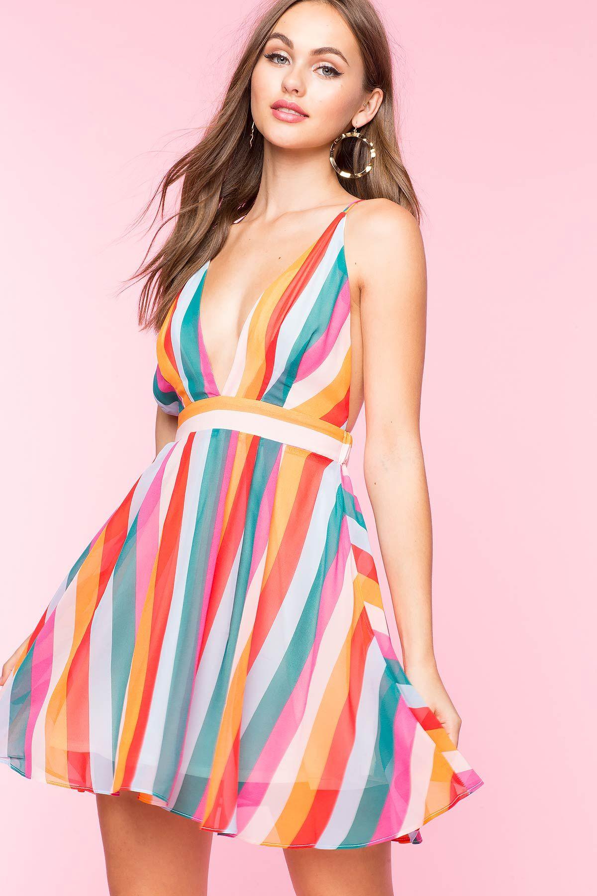 Womenus fit u flare dresses multi stripe flare dress augaci