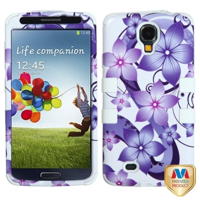 This is a purple hibiscus flower romance/ white TUFF hybrid phone protector case with stand for Samsung© Galaxy S4 I337/ L720/ M919/ I545/ R970/ I9505/ I9500. Protects your cell phone from bumps and scratches.