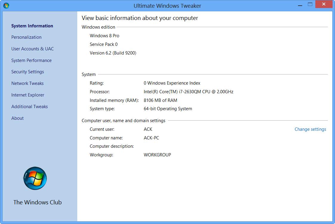 Ultimate Windows Tweaker v 2 2 is a freeware Tweak UI Utility for