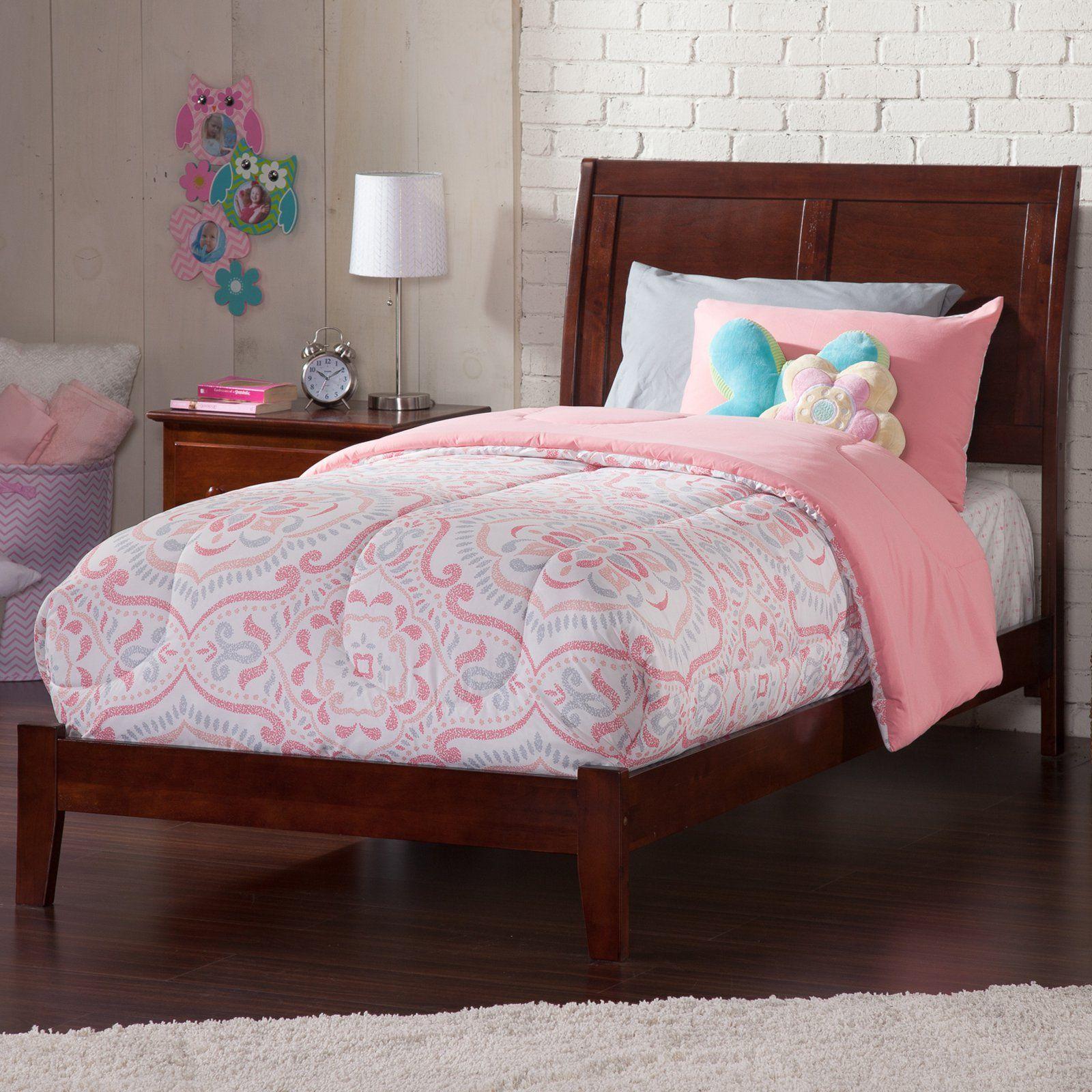 Atlantic Furniture Portland Traditional Bed Walnut Size Twin Xl Atlantic Furniture Traditional Bed Upholstered Bed Frame