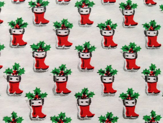 Vintage Gift Wrapping Paper by Kaycrest - Micro Mini Santa Boots - Holly Filled Christmas Stocking - 1 Unused Full Sheet Christmas Gift Wrap