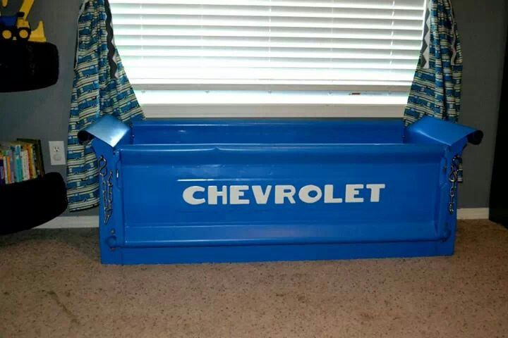 Chevy Tailgate Toy Box Made From A Real 53 Chevy Tail Gate Drops Down And Everything Boys Toy Box Car Nursery Boy Room