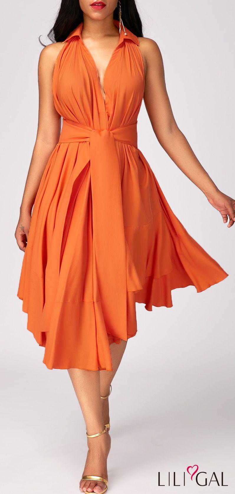 Orange dress casual  Orange High Waist Asymmetric Hem Layered Dress  Layering Clothes