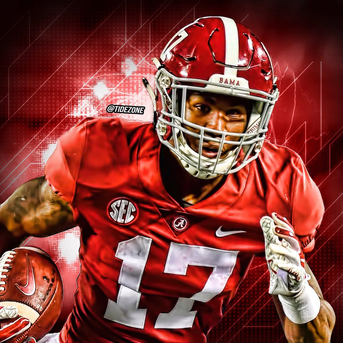 Jaylen Waddle Alabama Football Team Alabama Crimson Tide Football Wallpaper Alabama Football Roll Tide