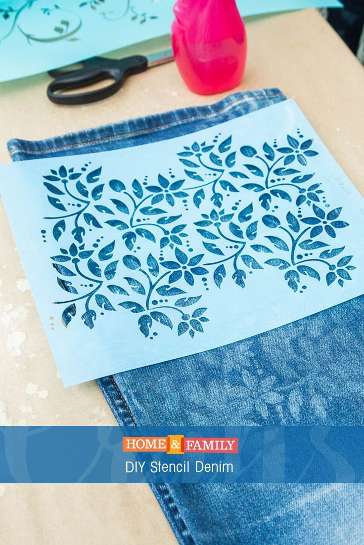 diy stencil denim - update an old pair of jeansusing bleach to