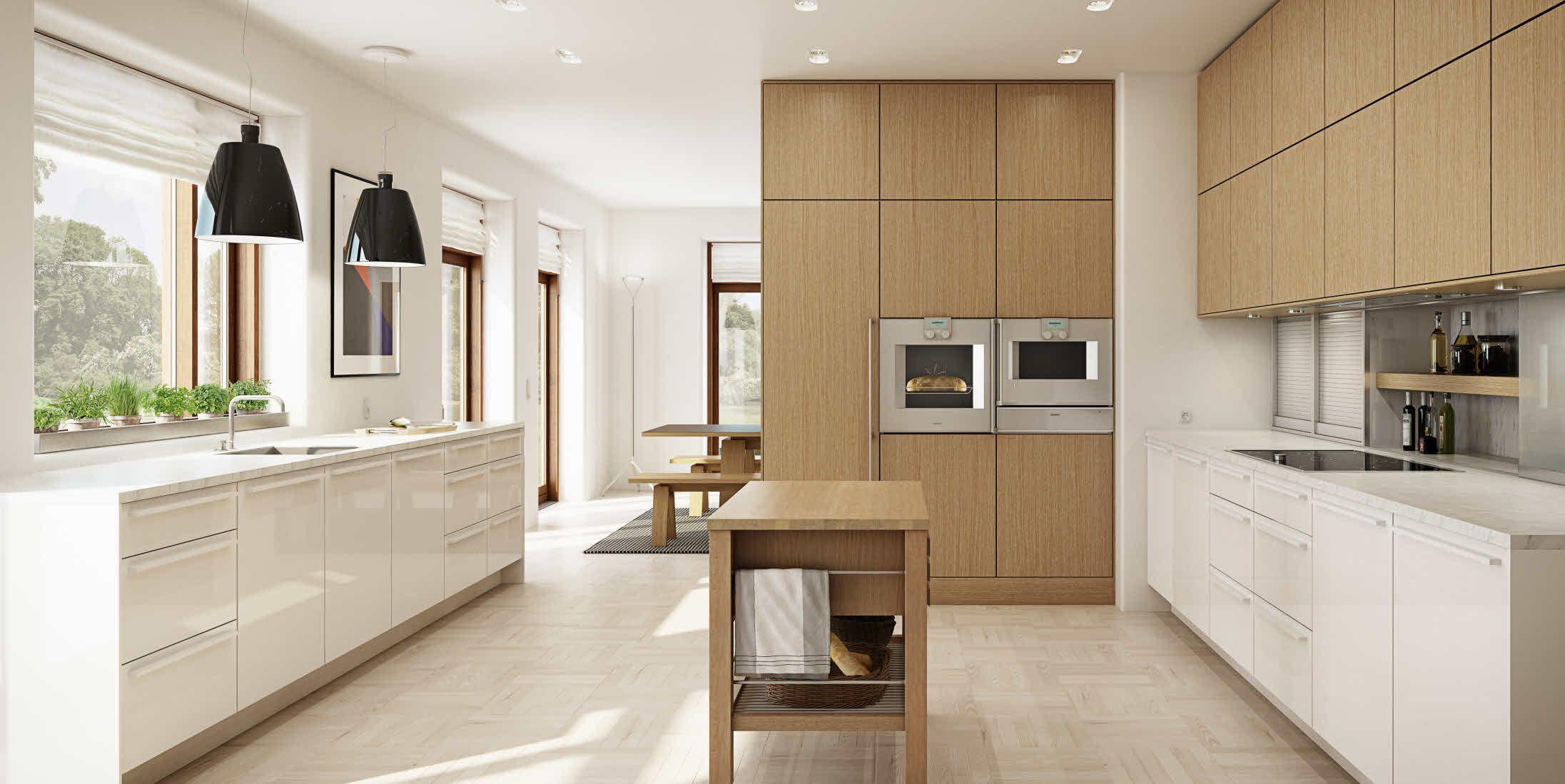 Cocina moderna de roble de chapa de madera con isla for Cocinas de madera de roble